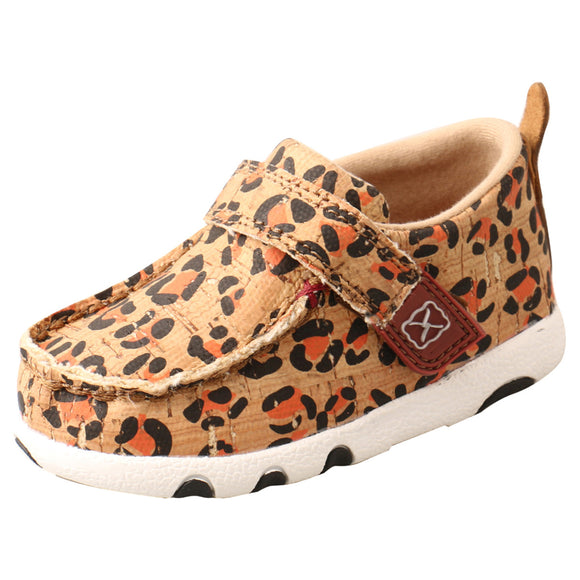 INFANT TWISTED X LEOPARD PRINT DRIVING MOC/HONEY, BLACK & CARROT-ICA0016