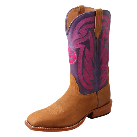 "LADIES 11"" HOOEY BOOT/ROUGH OUT TAN & PURPLE-WHY0011"