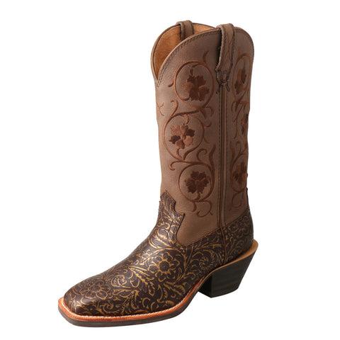 "LADIES TWISTED X 12"" RUFF STOCK BOOT/TOOLED & BROWN-WRS0028"