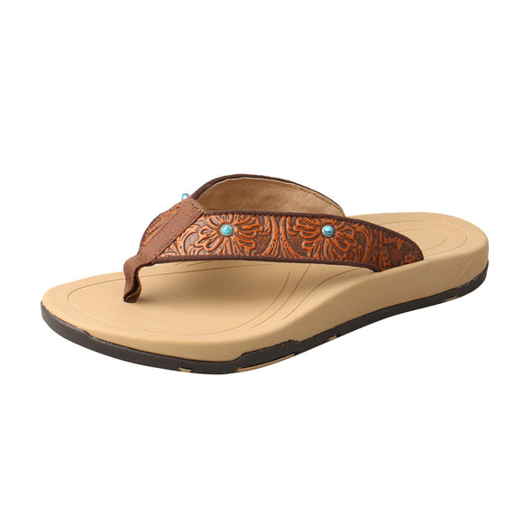 LADIES TWISTED X SANDAL/TAN & TOOLED-WSD0033