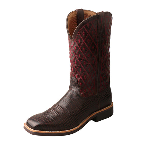 "LADIES TWISTED X 11"" TOP HAND BOOT/COFFEE & BURGUNDY-WTH0014"