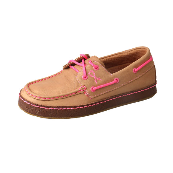 LADIES TWISTED X TETWP WRAP SOLE BOAT SHOE/BUFF & NEON PINK-WWS0002