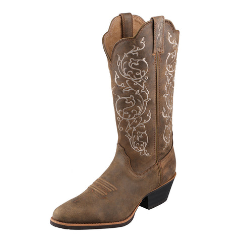 "LADIES TWISTED X 12"" WESTERN BOOT/BOMBER & BOMBER-WWT0025"