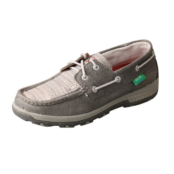 LADIES TWISTED X BOAT SHOE DRIVING MOC WITH CELLSTRETCH/GREY & LIGHT GREY-WXC0007