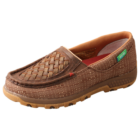 LADIES TWISTED X SLIP-ON DRIVING MOC WITH CELLSTRETCH/WOVEN BROWN & COFFEE-WXC0009