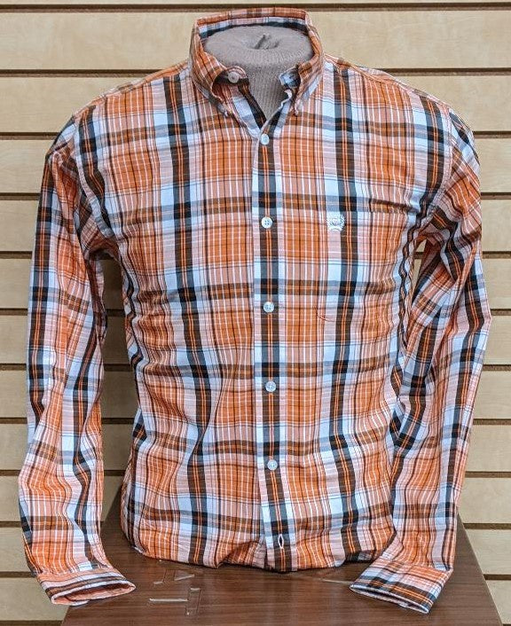 BOYS CINCH LS PLAID/ORANGE-MTW7060143
