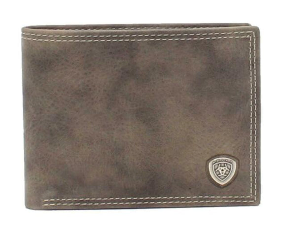 MEN'S ARIAT LEATHER BIFOLD CONCHO GREY-A3545006