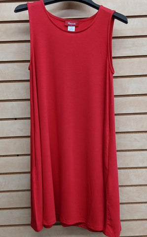 LADIES PANHANDLE SLIM SLEEVELESS DRESS/RED-J0-1283