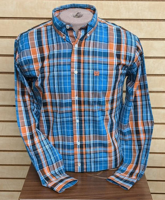 BOYS CINCH LS/BLUE/ORANGE-MTW7060145