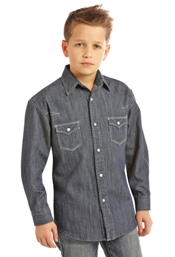 BOYS ROCK & ROLL COWBOY L/S SNAP/SOLID DENIM-B8S2311