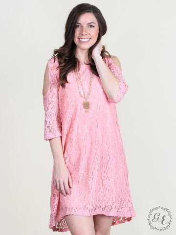 VERONICA'S COLD SHOULDER LINED LACE TUNIC/BLUSH-2869E