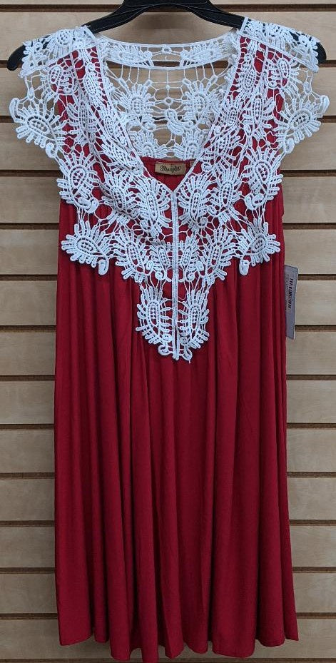 LADIES WRANGLER SLEEVELESS CROCHETED TRIM DRESS/RED-LWD223R