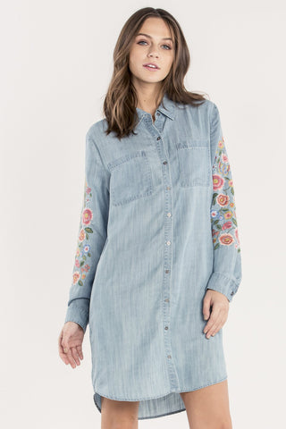 FLORAL FLOURISH DENIM DRESS-MMD0018L