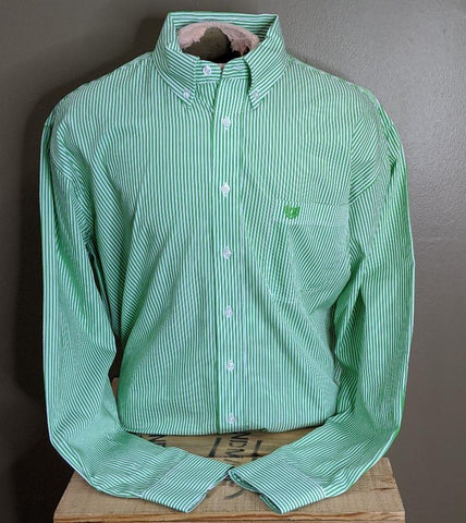 MENS PANHANDLE SLIM ROUGHSTOCK LS STRIPE/CLASSIC GREEN-R0D5046