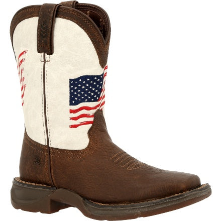 KID'S DURANGO LIL' REBEL BIG KIDS DISTRESSED FLAG WESTERN BOOT-DBT0234Y