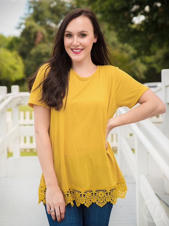 RUNNING BACK TO YOU MUSTARD TEE WITH CROCHET LACE HEM-6265E