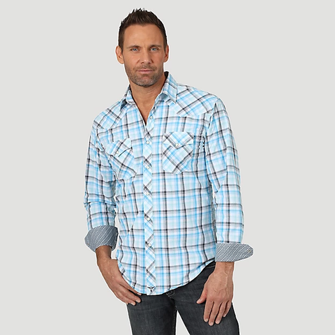 MENS WRANGLER® 20X® ADVANCED COMFORT COMPETITION SHIRT/WHITE/BLUE-MJC239M