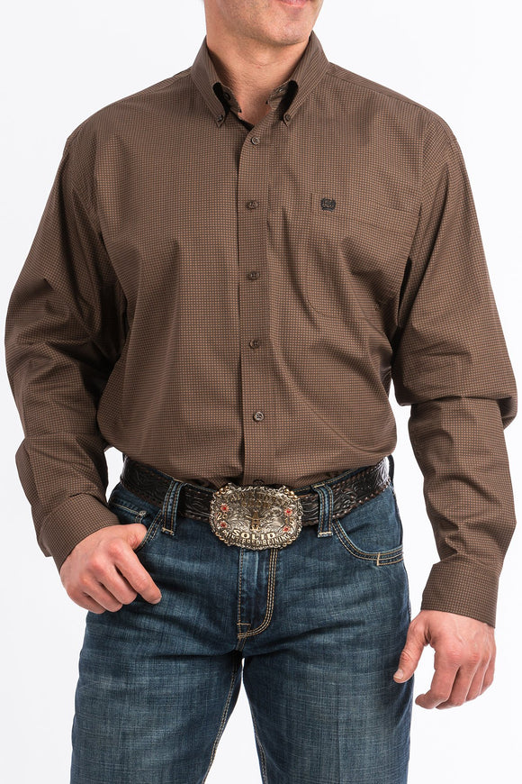 MENS CINCH LS BLACK/BROWN DOT PRINT-MTW1104758