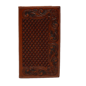 MEN'S ARIAT RODEO BASKET WEAVE FLORAL EMBOSSED WALLET-A3544208