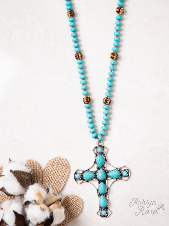 LADIES OPEN YOUR HEART TURQUOISE BEADED NECKLACE WITH SILVER CROSS PENDANT-AN9283