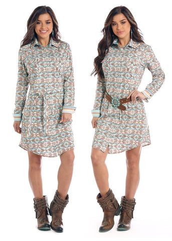 LADIES VINTAGE AZTEC PRINT DRESS/SNAP FRONT-R4O2137