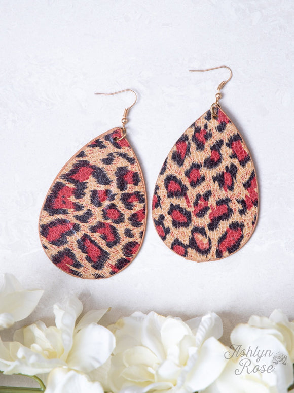 LADIES LEOPARD EARRINGS/RED-AE9304RED