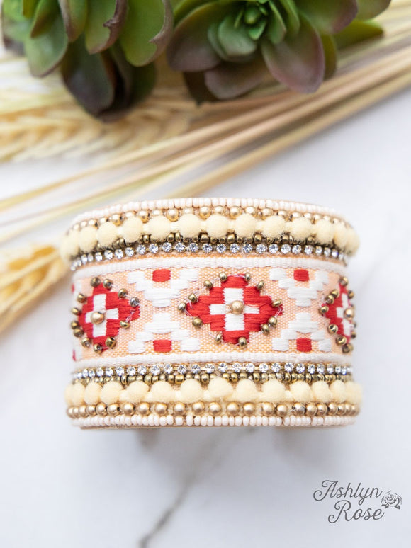 LADIES ON THE ROCKS- BEAD & THREAD CUFF BRACELET/RED-RB1219-RD