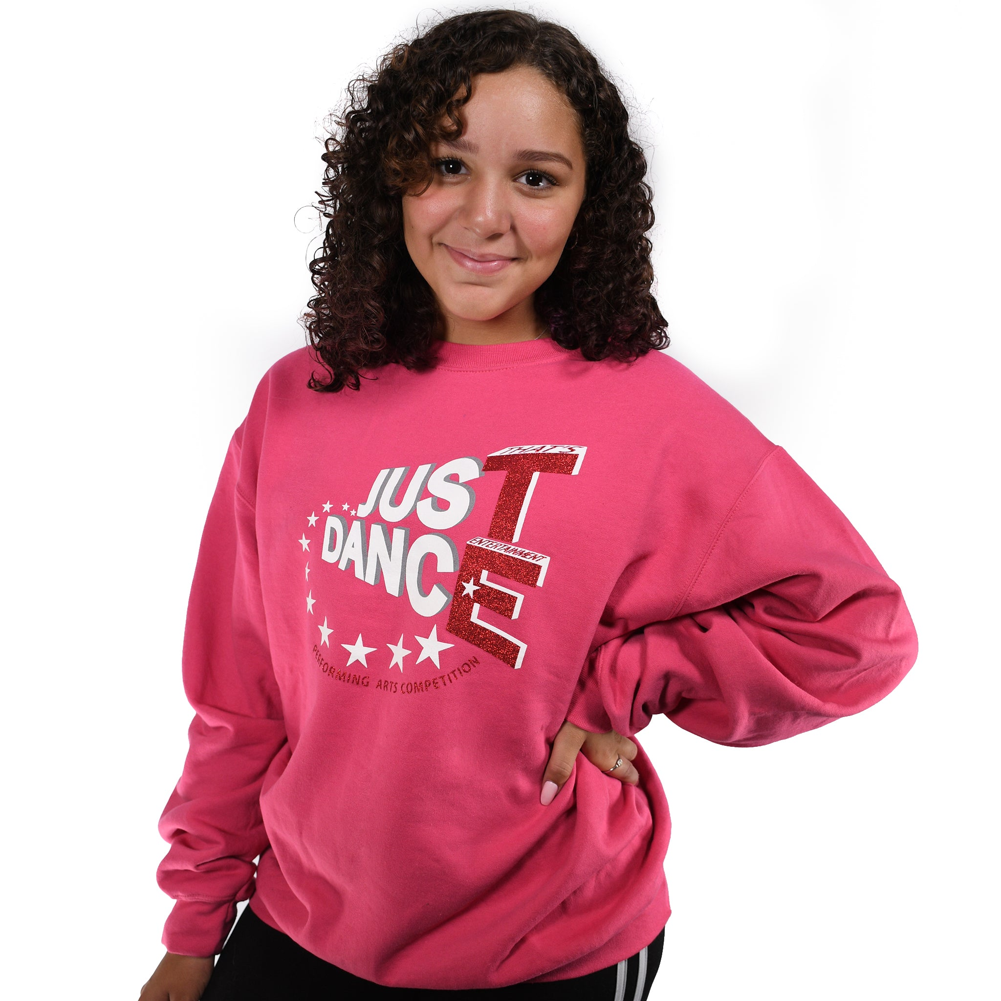 TE Just Dance Sweatshirt Pink with Red Sparkles