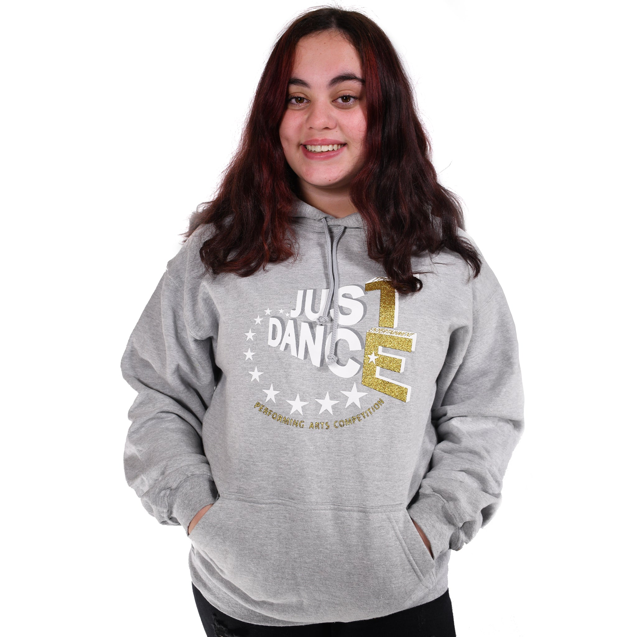 TE Just Dance Hoodie Grey with Gold Sparkles