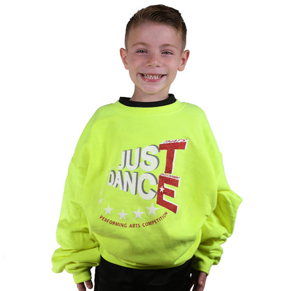 TE Just Dance Sweatshirt Neon Yellow with Red Sparkles - TECOMPS
