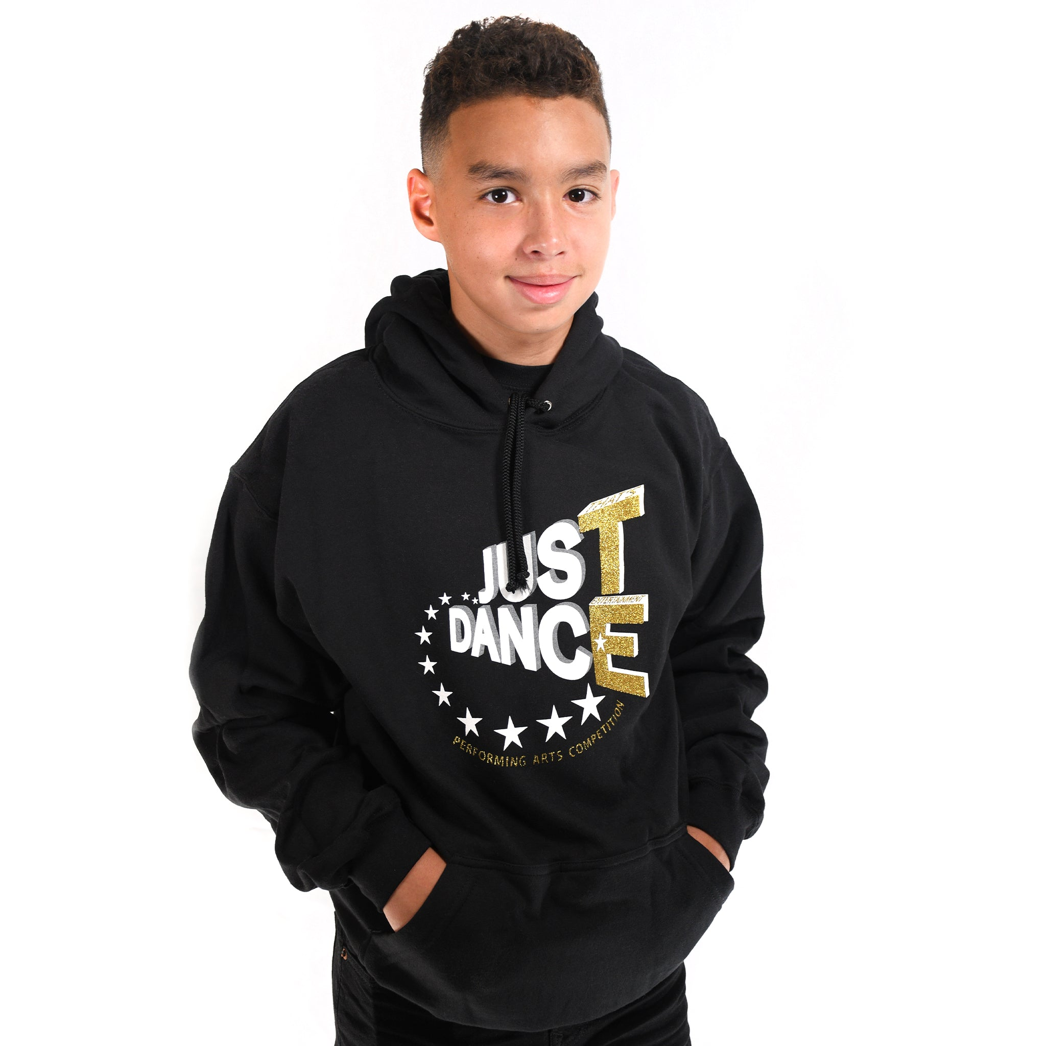 TE Just Dance Hoodie Black with Gold Sparkles
