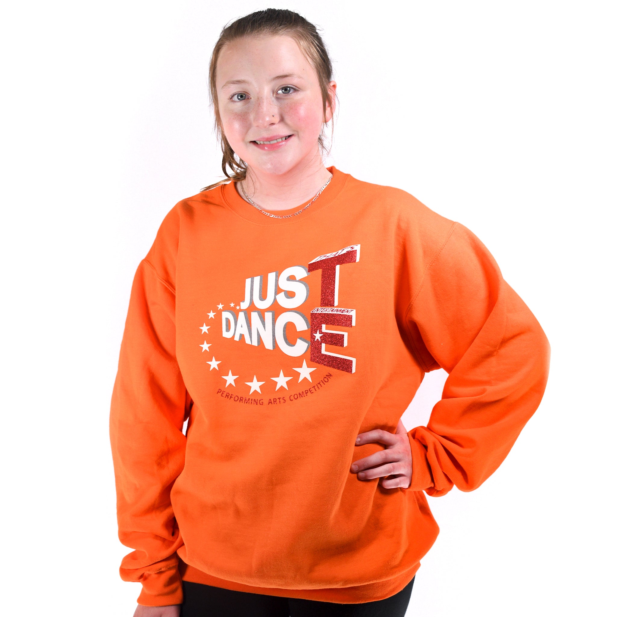 TE Just Dance Sweatshirts Orange with Red Sparkles