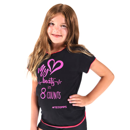 My Heart Beats in 8 Counts Black & Pink T-Shirt - TECOMPS