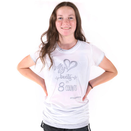 My Heart Beats in 8 Counts White & Grey T-Shirt - TECOMPS