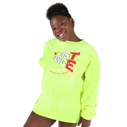 TE Just Dance Sweatshirt Neon Yellow with Red - TECOMPS