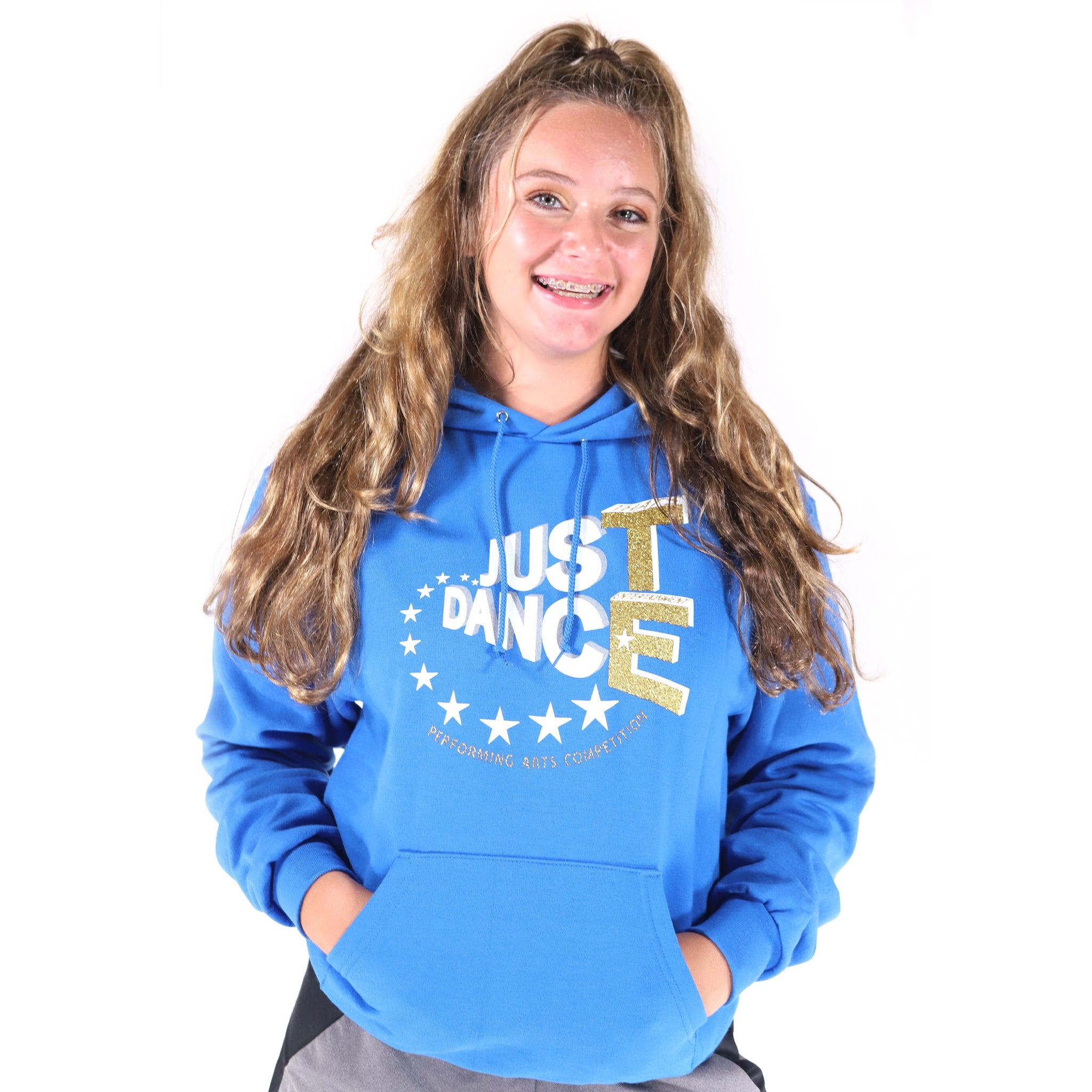 TE Just Dance Hoodie Blue with Gold Sparkles