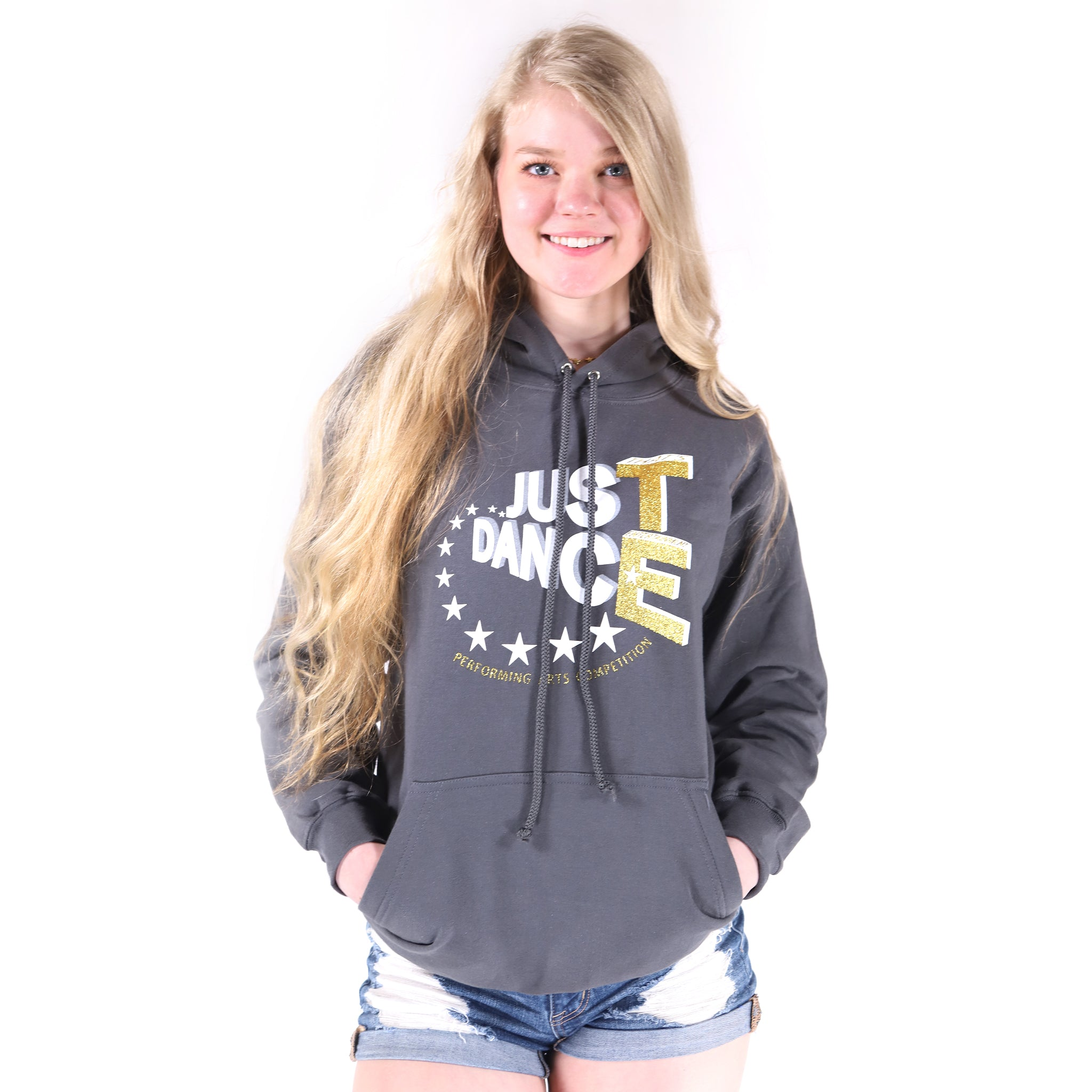 TE Just Dance Hoodie Slate with Gold Sparkles