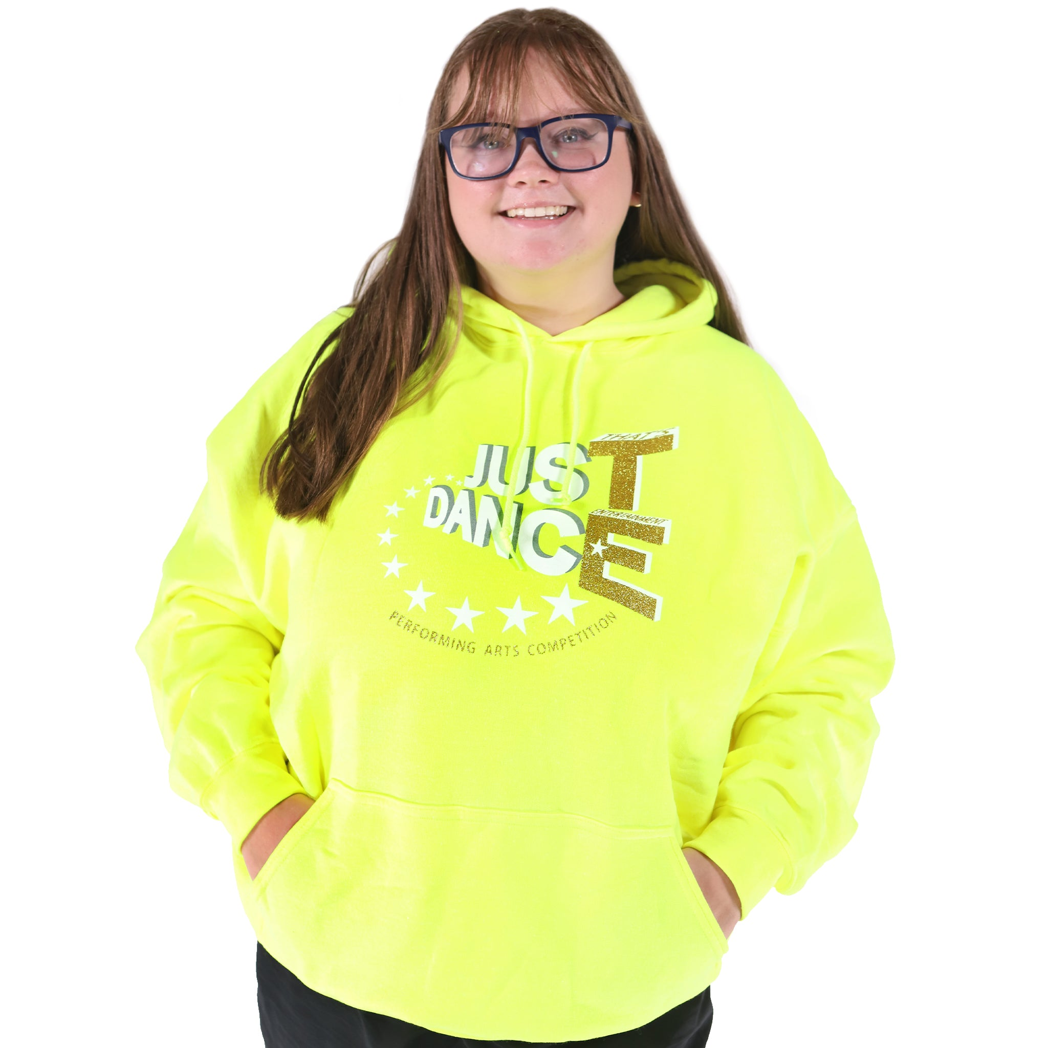 TE Just Dance Hoodie Neon Yellow with Gold Sparkles
