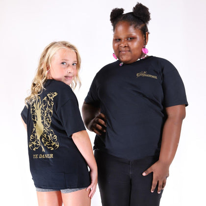 TE Black & Gold Butterfly Dancer Tee - TECOMPS