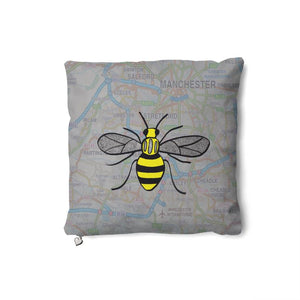 Manchester Bee on a Manchester Map Cushion