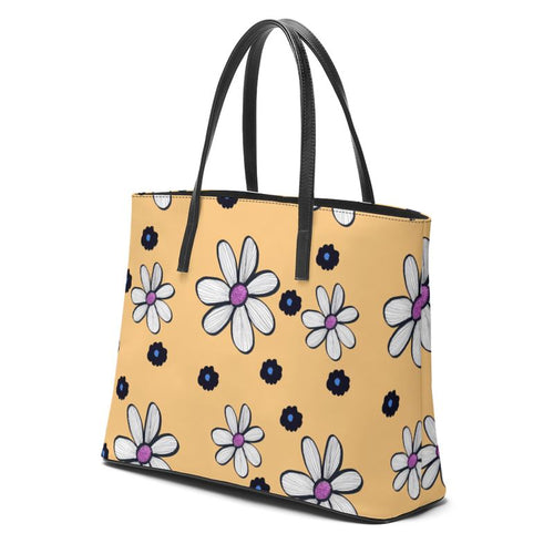 Quirky Flower (Yellow). Luxury Leather tote bag