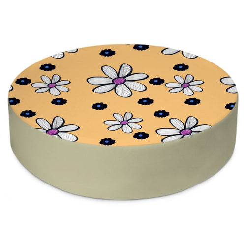 Quirky flower on a yellow background floor cushion