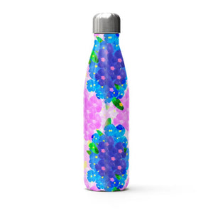 Hand painted pink and blue flowers on a thermal bottle
