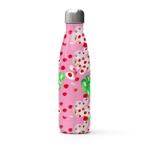 Tropical Fever Leaf on a pink background thermal bottle