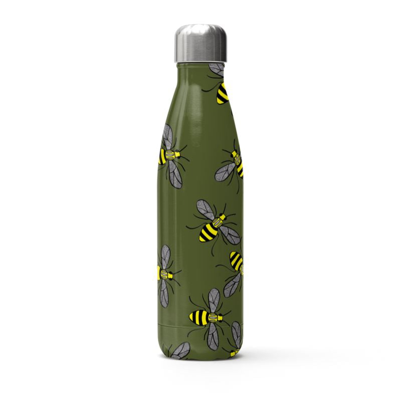 Manchester Bee on an Olive Green Background Thermal Bottle