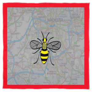 Manchester Bee on Manchester Map Scarf