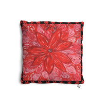 Load image into Gallery viewer, Red Flower Cushion