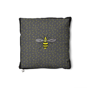 Bee Cushion on an olive background