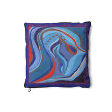 Load image into Gallery viewer, Blue Squiggle Cushion