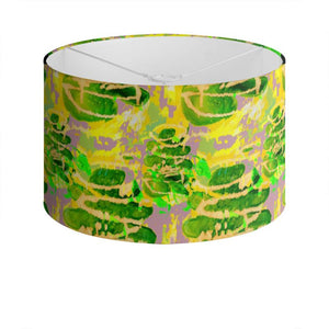 Acid Green and Purple leafy design lampshade